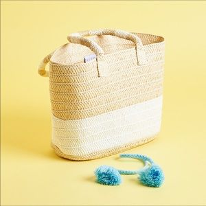 ALTRU Woven Plaited Straw Tote Neutral Colorblock